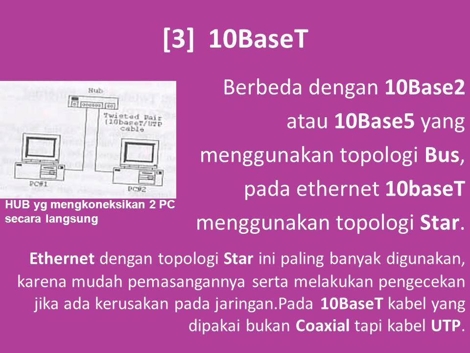 [3] 10BaseT Berbeda dengan 10Base2 atau 10Base5 yang